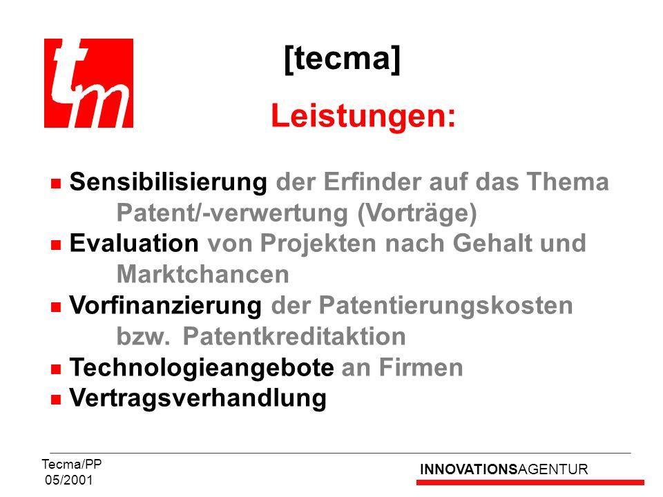 [tecma] Leistungen: Sensibilisierung der Erfinder auf das Thema Patent/-verwertung (Vorträge)